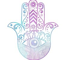 Hamsa Hand Purple and Blue Watercolor by JannaSalak