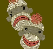 Tragedy and Comedy Sock Monkeys by SusanSanford