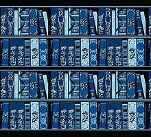 Blue Book Shelves Vintage Books Pattern by HavenDesign