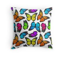 Rainbow Monarch Butterfly Pattern Throw Pillow