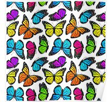 Rainbow Monarch Butterfly Pattern Poster