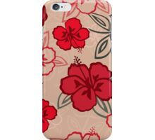 Red Hawaiian Hibiscus Pattern iPhone Case/Skin