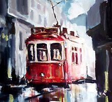 Old tram on the street by ZlatkoMusicArt