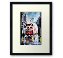 Old tram on the street Framed Print
