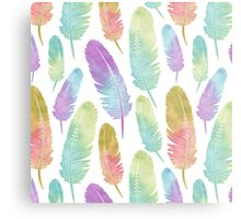 Boho Feather Pattern Watercolor Rainbow Metal Print