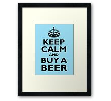KEEP CALM, BUY A BEER, BE COOL, ON ICE BLUE Framed Print