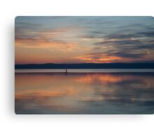 Surfer Rowing To Shore Canvas Print