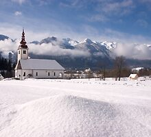 beautiful bohinsjska Bistrica and its church by Ian Middleton