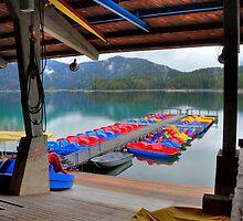 Colourful boats at lake Eibsee by Daidalos