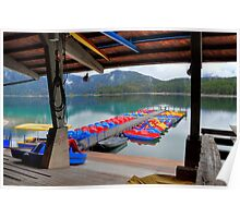 Colourful boats at lake Eibsee Poster