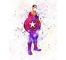 Captain America in watercolor Photographic Print