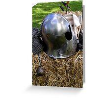 Medieval dented helmet Greeting Card
