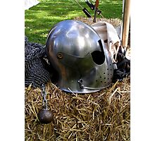 Medieval dented helmet Photographic Print