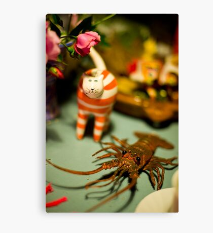The Cat And The Lobster Were Not To Be Messed With Canvas Print