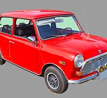 Red Mini Cooper Antique Car by KWJphotoart