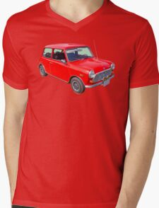 Red Mini Cooper Antique Car Mens V-Neck T-Shirt