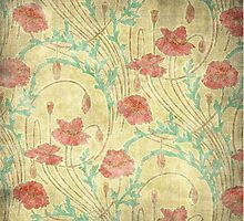 Floral pattern on old paper by Olga Chetverikova
