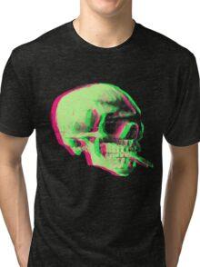 Van Gogh Skull with burning cigarette remixed Tri-blend T-Shirt