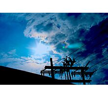 Blue sky power lines Photographic Print