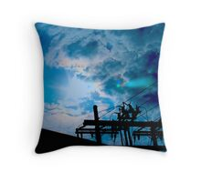 Blue sky power lines Throw Pillow