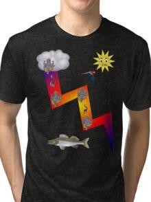 Lightning lemur fish ganesh parrrot cloud sun Tri-blend T-Shirt