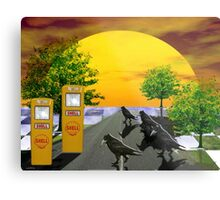 Dream Gas station and Black Birds Metal Print