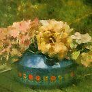 Hydrangeas in water kettle by Gilberte