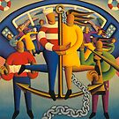 The  nautical lovers on anchor with chain and musicians by Alan Kenny