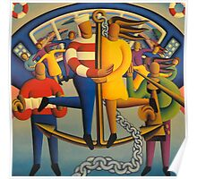 The  nautical lovers on anchor with chain and musicians Poster