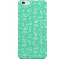 Camping Doodle Print Aqua iPhone Case/Skin