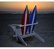 Beach chair sunset Photographic Print