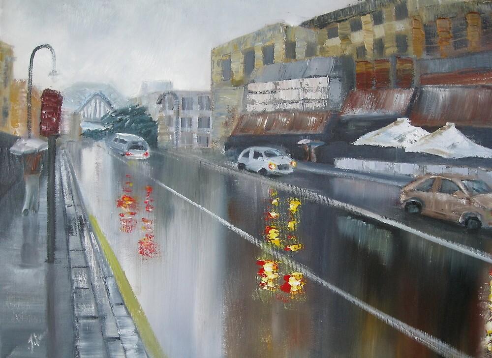 Rainy Day - Wet street in Sydney by Tash  Luedi Art