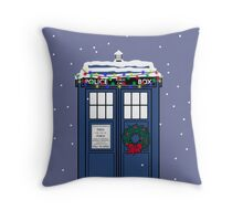 Festive Police Public Call Box. Throw Pillow
