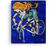Bicycle Woman Canvas Print