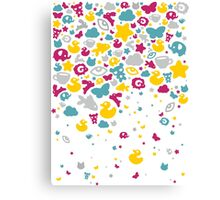 Toys falling like candies - white Canvas Print