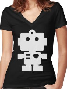 Robot - black & white Women's Fitted V-Neck T-Shirt