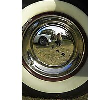 Self Portrait in Buick Hubcap Photographic Print