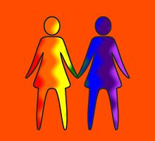 Wavy Rainbow Lesbian Couple #LGBT #Pride Womens Fitted T-Shirt