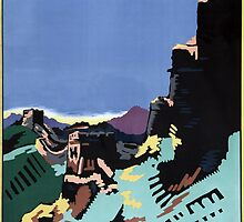 Manchuria and the Great Wall Vintage Poster Restored by Carsten Reisinger