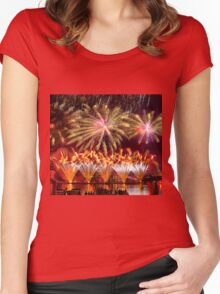 Fireworks over the Charles River.  Women's Fitted Scoop T-Shirt