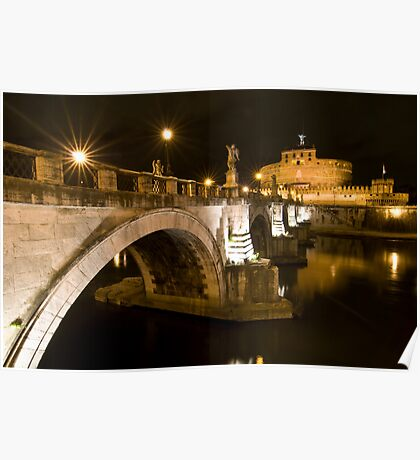 Castel Sant'Angelo by night, Rome, Italy Poster