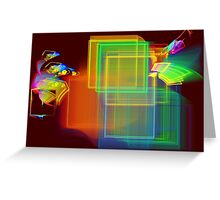 Computer Generated Abstract Squares Fractal Flame Greeting Card