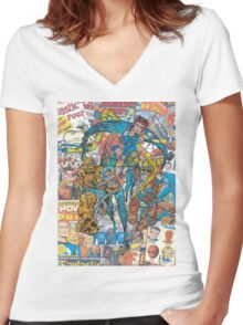 Vintage Comic Fantastic Four Women's Fitted V-Neck T-Shirt