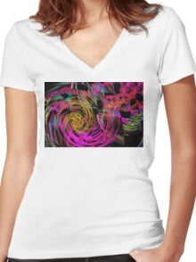 Colorful Psychedelic Abstract Fractal Art Women's Fitted V-Neck T-Shirt