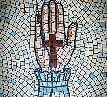 Ancient Mosaic Of A Hand And Crucifix by mrdoomits