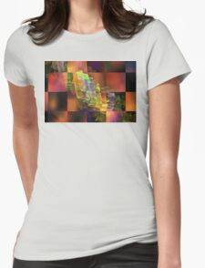 Abstract Checkered Pattern Fractal Flame Womens Fitted T-Shirt