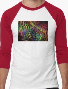 Colorful Psychedelic Abstract Fractal Art Men's Baseball ¾ T-Shirt
