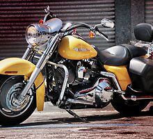 Yellow Harley at the kerb. by Tigersoul