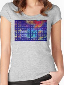 Abstract Blue Psychedelic Tiled Fractal Flame Women's Fitted Scoop T-Shirt