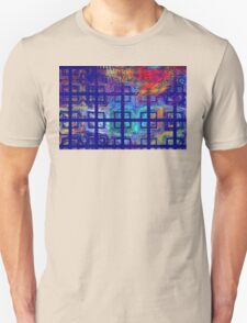 Abstract Blue Psychedelic Tiled Fractal Flame T-Shirt